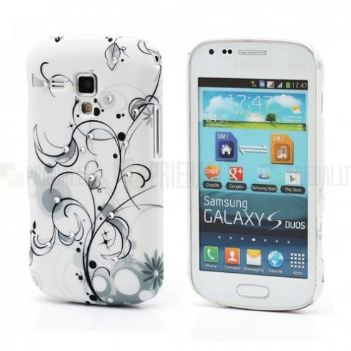 Raštuotas plastikinis melsvas Samsung Galaxy S Duos S7562 (Samsung Galaxy Trend S7560) dėklas (dėkliukas)