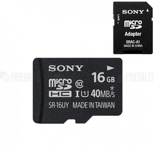 """""""Sony"""" MicroSD atminties kortelė 16 Gb, 10 Klasė su SD adapteriu"""