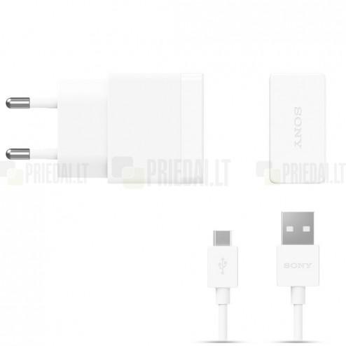 """Originalus """"Sony"""" Quick Charger (EP881) baltas kelioninis (sieninis) įkroviklis (EU) su micro USB laidu"""