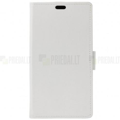 Sony Xperia 1 (XZ4) atverčiamas baltas odinis dėklas - piniginė