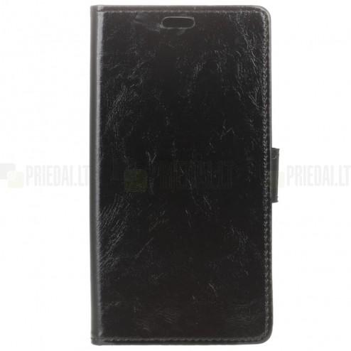 Sony Xperia 1 (XZ4) atverčiamas juodas odinis dėklas - piniginė