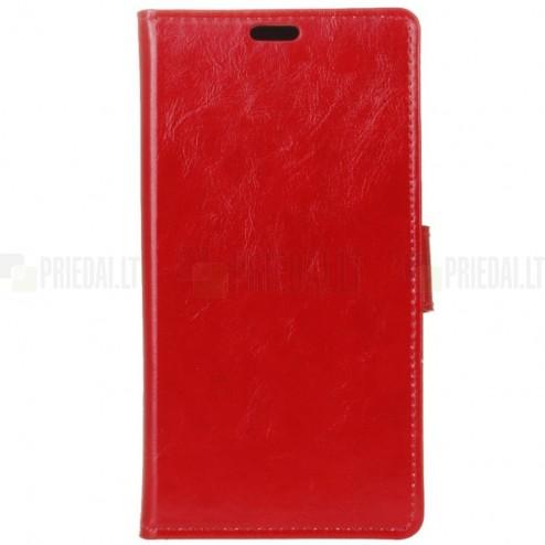 Sony Xperia 1 (XZ4) atverčiamas raudonas odinis dėklas - piniginė