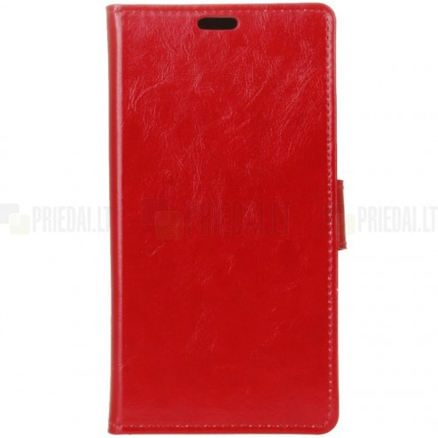 Sony Xperia 10 (XA3 ) atverčiamas raudonas odinis dėklas - piniginė