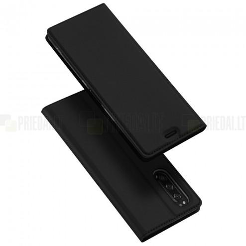 """""""Dux Ducis"""" Skin serijos Sony Xperia 5 juodas odinis atverčiamas dėklas"""