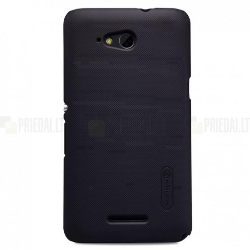 Sony Xperia E4g Nillkin Frosted Shield juodas plastikinis dėklas + apsauginė ekrano plėvelė