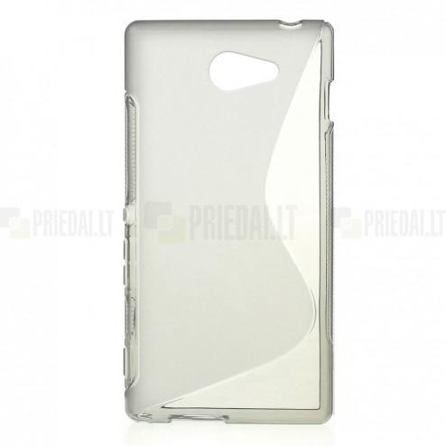 Sony Xperia M2 Aqua pilkas kieto silikono TPU skaidrus (permatomas) dėklas - nugarėlė