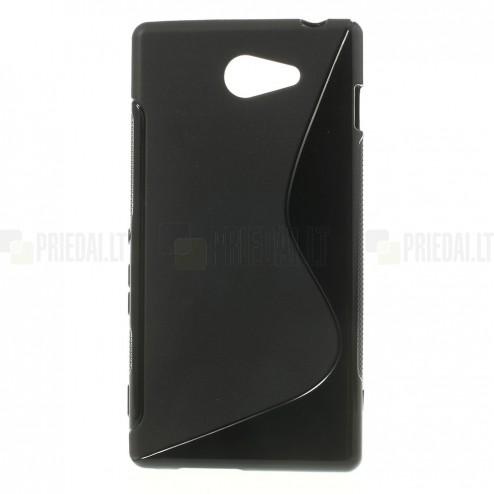 Sony Xperia M2 Aqua juodas kieto silikono TPU dėklas - nugarėlė