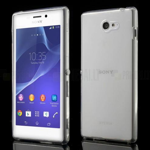 Sony Xperia M2 skaidrus (permatomas) kieto silikono TPU ploniausias pasaulyje dėklas