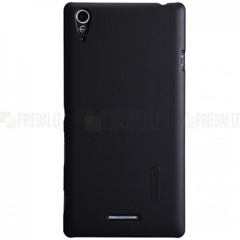 Sony Xperia T3 Nillkin Frosted Shield juodas plastikinis dėklas + apsauginė ekrano plėvelė