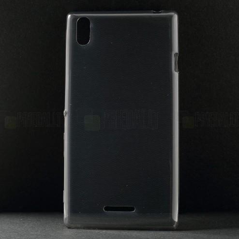 Sony Xperia T3 skaidrus (permatomas) kieto silikono TPU ploniausias pasaulyje pilkas dėklas