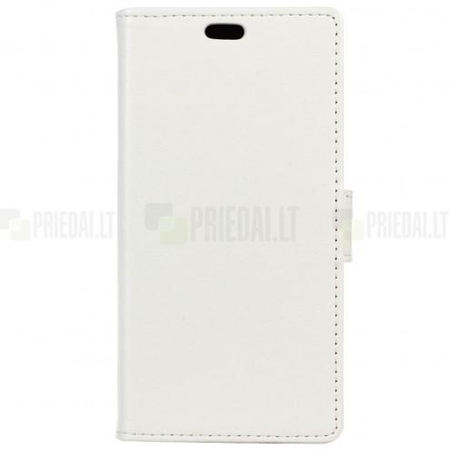 Sony Xperia XZ1 Compact atverčiamas baltas odinis dėklas, knygutė - piniginė