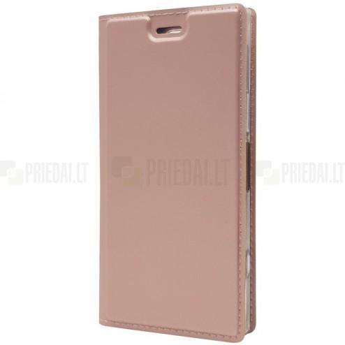 """""""Dux Ducis"""" Skin serijos Sony Xperia XZ1 Compact rožinis odinis atverčiamas dėklas"""