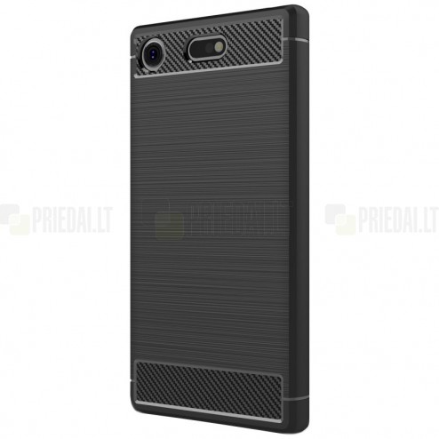 """Sony Xperia XZ1 Compact """"Carbon"""" kieto silikono TPU juodas dėklas - nugarėlė"""