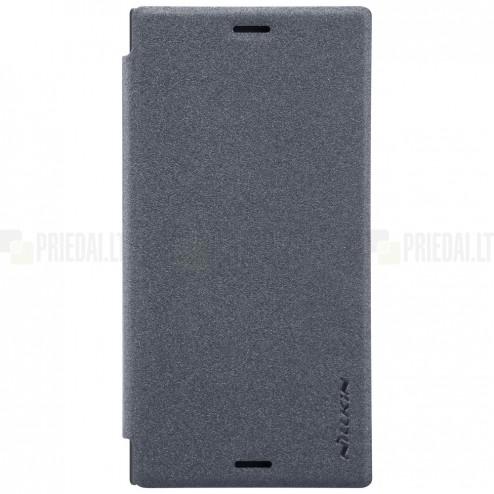 Sony Xperia XZ1 Compact pilkas odinis atverčiamas Nillkin Sparkle dėklas