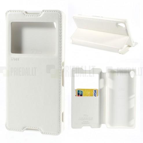 Roar Noble atverčiamas Sony Xperia Z3 baltas odinis dėklas