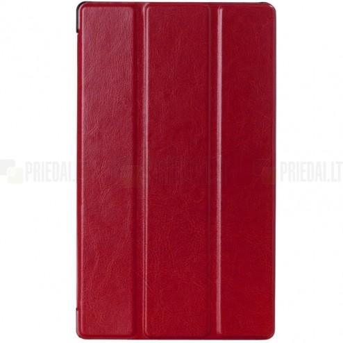 Sony Xperia Z3 Tablet Compact atverčiamas raudonas odinis dėklas (sulankstomas)