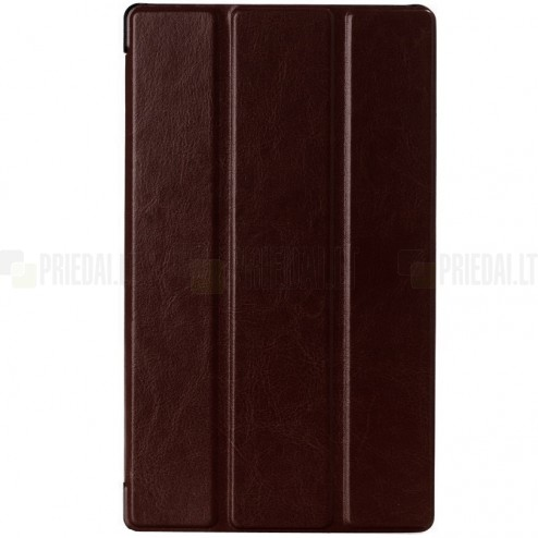 Sony Xperia Z3 Tablet Compact atverčiamas rudas odinis dėklas (sulankstomas)