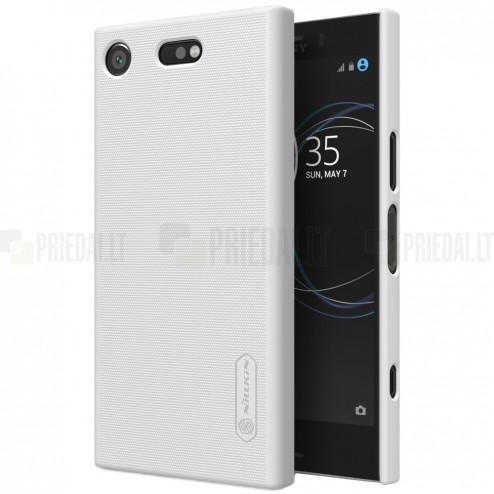 Nillkin Frosted Shield Sony Xperia XZ1 Compact baltas plastikinis dėklas + apsauginė ekrano plėvelė