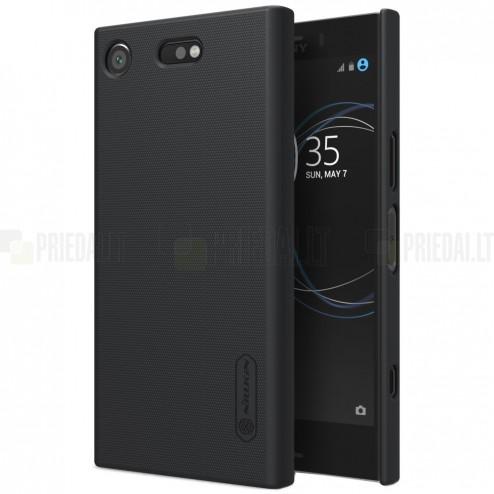 Nillkin Frosted Shield Sony Xperia XZ1 Compact juodas plastikinis dėklas + apsauginė ekrano plėvelė