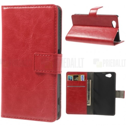 Atverčiamas odinis raudonas Sony Xperia Z1 compact dėklas