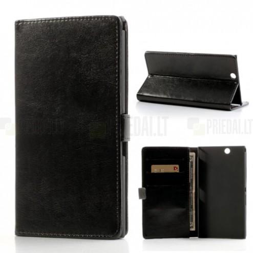 """""""Crazy Horse"""" Sony Xperia Z Ultra juodas odinis atverčiamas dėklas - piniginė"""