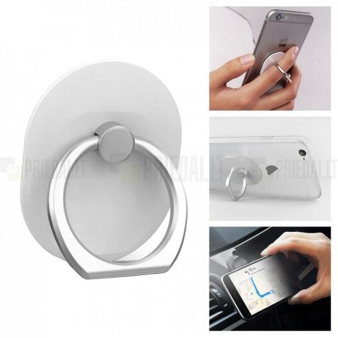 Ring telefono laikiklis - žiedas (prie nugarėlės) - baltas