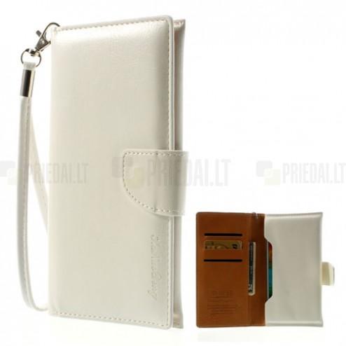 Universali atverčiama balta odinė įmautė - piniginė (XL+ dydis)