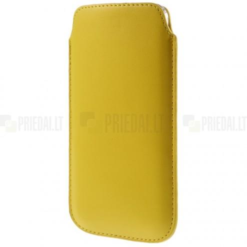 Universali geltona odinė įmautė - dėklas (XL dydis)