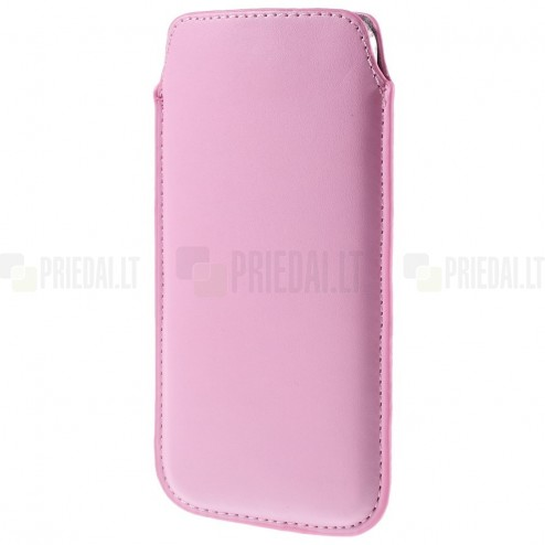 Universali šviesiai rožinė odinė įmautė - dėklas (XL dydis)