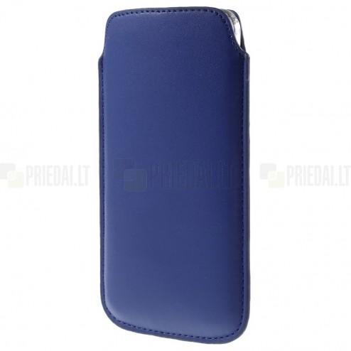 Universali tamsiai mėlyna odinė įmautė - dėklas (XL dydis)