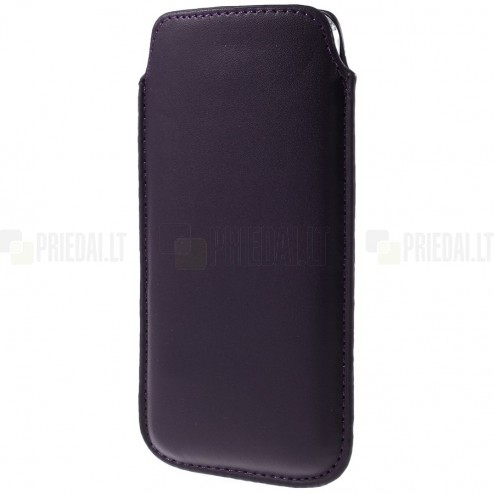 Universali tamsiai violetinė odinė įmautė - dėklas (XL dydis)