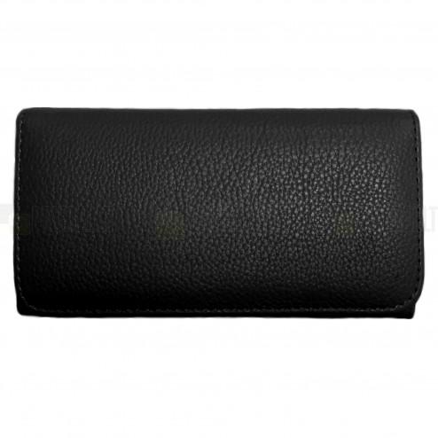 """""""Litchi"""" universali juoda odinė telefono piniginė - dėklas (L dydis)"""