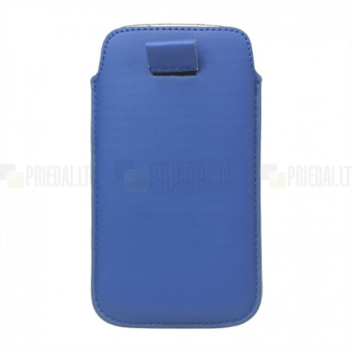Universali mėlyna odinė įmautė - dėklas (L dydis)
