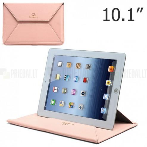Universali rožinė odinė kompiuterinės planšetės įmautė, vokas, 10.1 colių planšetėms