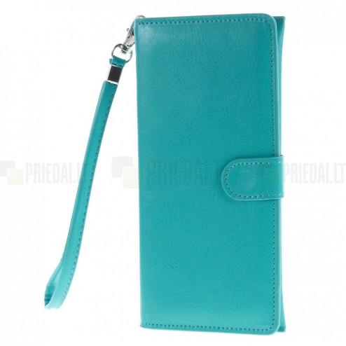 Universali atverčiama šviesiai mėlyna odinė įmautė - piniginė (XL+ dydis)