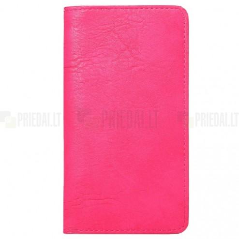 Atverčiama rožinė odinė universali įmautė - piniginė (L+ dydis)