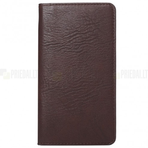 Atverčiama ruda odinė universali įmautė - piniginė (L+ dydis)