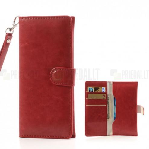 Universali atverčiama raudona odinė įmautė - piniginė (L dydis)