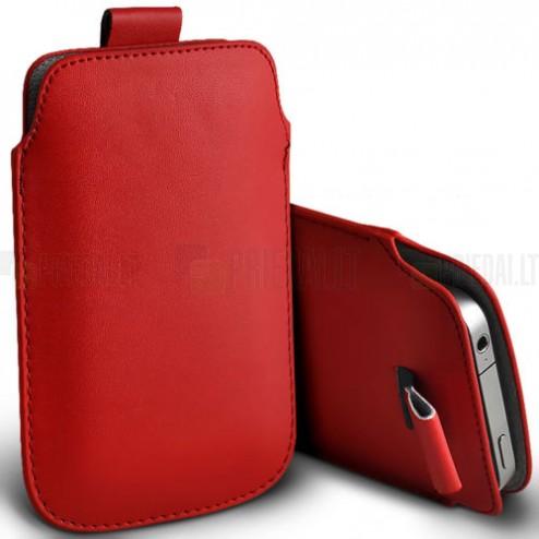 Universali raudona odinė įmautė - dėklas (L dydis)