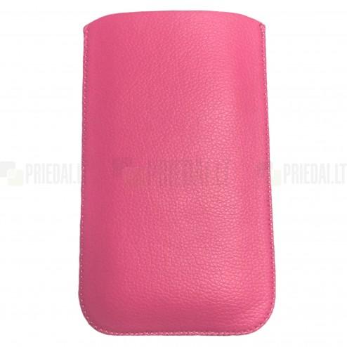 Universali rožinė odinė įmautė - dėklas (XL dydis)