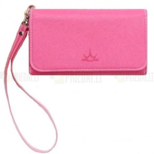 """""""Crown"""" atverčiama tamsiai rožinė odinė universali įmautė - piniginė (L dydis)"""