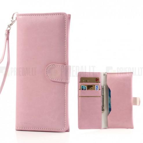 Universali atverčiama rožinė odinė įmautė - piniginė (L dydis)