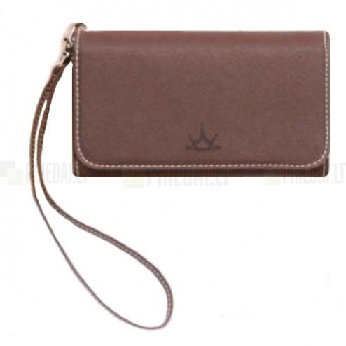 """""""Crown"""" atverčiama ruda odinė universali įmautė - piniginė (L dydis)"""