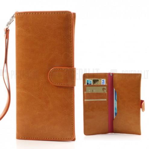 Universali atverčiama ruda odinė įmautė - piniginė (L dydis)