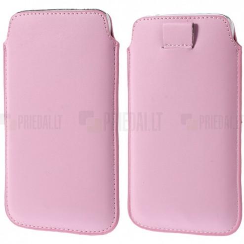 Universali rožinė odinė įmautė - dėklas (L+ dydis)