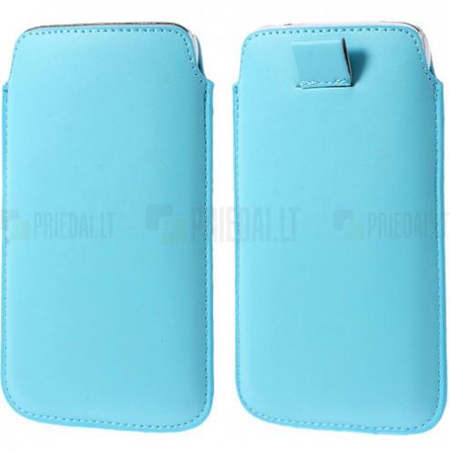 Universali šviesiai mėlyna odinė įmautė - dėklas (L+ dydis)