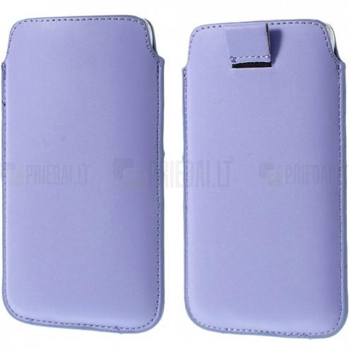 Universali šviesiai violetinė odinė įmautė - dėklas (L dydis)