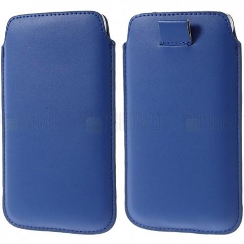 Universali tamsiai mėlyna odinė įmautė - dėklas (L+ dydis)