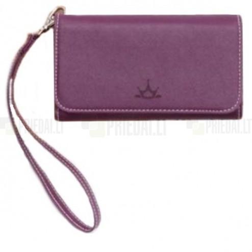 """""""Crown"""" atverčiama violetinė odinė universali įmautė - piniginė"""
