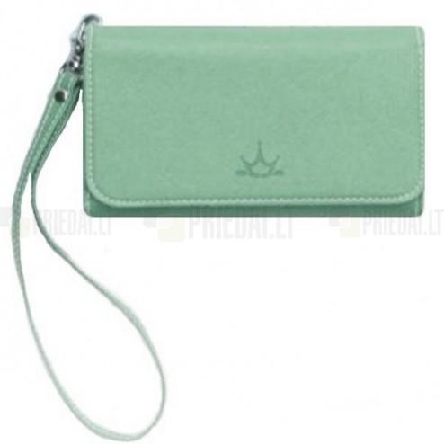 """""""Crown"""" atverčiama žalia odinė universali įmautė - piniginė (L dydis)"""
